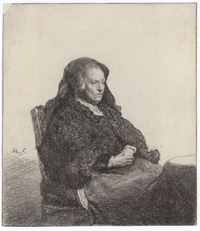 The Artist's Mother Seated at a Table, Looking Right: Three-Quarter Length