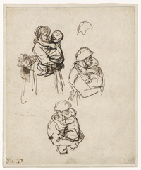 Three Studies of a Woman with a Child in Her Arms