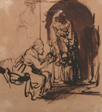 Two Women Teaching a Child to Walk and a Sketch of a Woman Seen from the Back