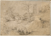 Landscape with a Bear Fighting with a Goat, after Titian