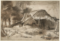 Old Farm at the Edge of a Wood (after Rembrandt)